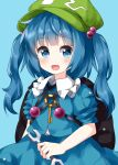 1girl :d backpack bag black_bag blue_background blue_eyes blue_hair blue_shirt blue_skirt blush commentary_request cowboy_shot eyebrows_visible_through_hair frills green_headwear hair_bobbles hair_ornament hat highres holding holding_wrench kawashiro_nitori key long_hair looking_at_viewer open_mouth ruu_(tksymkw) shirt simple_background skirt smile solo touhou two_side_up wrench