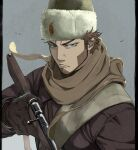 1boy beard blue_eyes bolt_action brown_coat brown_gloves brown_hair brown_scarf closed_mouth coat facial_hair fur_hat gloves golden_kamuy grey_background gun hat highres holding holding_gun holding_weapon long_sleeves looking_at_viewer male_focus mosin-nagant pillarboxed rifle russian_clothes scarf short_hair sideburns simple_background sling solo tonta_(tonta1231) tsurime upper_body ushanka v-shaped_eyebrows vasily_(golden_kamuy) weapon white_headwear winter_clothes