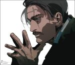 1boy black_hair blue_eyes close-up collared_shirt face facial_hair facial_scar fingers_together from_side golden_kamuy highres looking_to_the_side male_focus mustache scar scar_across_eye shirt short_hair simple_background solo upper_body white_shirt wilk_(golden_kamuy) zifletts