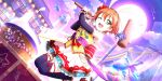 blush dress green_eyes hoshizora_rin love_live!_school_idol_festival_all_stars orange_hair short_hair wink
