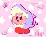 animated animated_gif costume fish_tail keke_(kokorokeke) kirby lifebuoy looping_animation red_footwear shark shark_fin shark_tail sharp_teeth sleeping smile star_(symbol) swimming tail teeth waddle_dee zzz