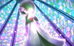 commentary_request from_below gardevoir gen_3_pokemon glowing hands_together head_down pink_eyes pokemon pokemon_(creature) poket_mkrn solo sparkle stained_glass