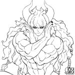 1boy abs asterios_(fate/grand_order) black_nails black_sclera cow_horns fate/grand_order fate_(series) highres horns jamrolypoly jojo_no_kimyou_na_bouken jojo_pose long_hair looking_at_viewer male_focus muscle navel nipples pose simple_background solo uncolored upper_body white_background