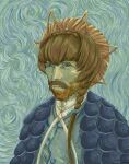 1boy beard blue_eyes braid brown_hair crown_braid facial_hair fate/grand_order fate_(series) ground_vehicle hat highres kimleon long_hair looking_at_viewer male_focus meme motor_vehicle parody real_life side_braid solo upper_body van_gogh_(fate) vincent_van_gogh_(person) vincent_van_gogh_(style) yellow_headwear