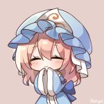 1girl artist_name bangs blue_bow blue_headwear blue_kimono blush bow chibi closed_eyes closed_mouth eyebrows_visible_through_hair hat highres japanese_clothes kimono long_hair long_sleeves mob_cap pink_background pink_hair pudding_(skymint_028) saigyouji_yuyuko signature simple_background sleeves_past_wrists smile solo spiral touhou triangular_headpiece wide_sleeves