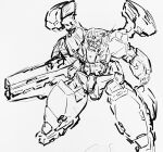 clenched_hand gun gundam gundam_00 gundam_virtue highres holding holding_gun holding_weapon looking_down mecha monochrome no_humans sa/tsu/ki shoulder_cannon sketch solo v-fin weapon