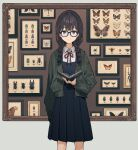 1girl arm_at_side bangs beetle black-framed_eyewear blue_eyes blush book bow braid brown_hair bug butterfly dot_nose dragonfly dress dress_shirt eyebrows_visible_through_hair feet_out_of_frame frame framed_insect glasses green_jacket hair_over_shoulder highres holding holding_book insect jacket long_sleeves looking_at_viewer medium_hair moth nail_polish neck_ribbon open_clothes open_jacket original pinafore_dress pleated_skirt red_bow ribbon shirt skirt smile solo stag_beetle standing teshima_nari twin_braids twintails white_shirt