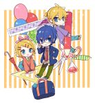 1girl 2boys adjusting_eyewear bag balloon bangs beige_sweater bespectacled blonde_hair blue_eyes blue_hair blue_jacket blue_pants blue_skirt chibi expressionless flask glasses green_neckwear green_pants hair_ornament hair_ribbon hairclip hand_on_hip holding jacket kagamine_len kagamine_rin kaito looking_at_viewer miniboy minigirl multiple_boys necktie open_mouth orange_footwear orange_sweater pants pencil pink_headwear purple_sweater red_neckwear ribbon ruler school_bag scissors shoes short_hair short_ponytail skirt smile sneakers spiky_hair striped striped_background sweater swept_bangs umbrella vocaloid yoshiki
