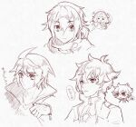1girl 3boys clenched_hand erinashi_kin gundam gundam_00 gundam_build_divers gundam_build_divers_re:rise gundam_tekketsu_no_orphans kuga_hiroto looking_at_viewer mikazuki_augus monochrome multiple_boys scarf setsuna_f_seiei thinking tied_hair upper_body white_background
