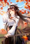 1girl :d antenna_hair autumn autumn_leaves bangs beret black_skirt blurry blurry_background brown_hair commentary_request day depth_of_field eyebrows_visible_through_hair falling_leaves feet_out_of_frame floating_hair hand_on_railing hand_up hat highres lalazyt leaf long_hair long_skirt long_sleeves maple_leaf open_mouth orange_eyes original outdoors railing skirt smile solo standing sweater turtleneck turtleneck_sweater very_long_hair white_headwear white_sweater wind