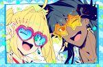 1boy 1girl :d alternate_costume aqua_background bangs blonde_hair blue_shirt close-up dark_blue_hair earrings face fate/grand_order fate_(series) green_eyes jewelry koshiro_itsuki long_hair nero_claudius_(fate) nero_claudius_(fate)_(all) one_eye_closed open_clothes open_mouth open_shirt romulus_quirinus_(fate/grand_order) shirt smile summer sunglasses twintails upper_body