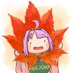 1girl ahoge bowl bowl_hat chamaji commentary_request eyebrows_visible_through_hair hat holding holding_leaf japanese_clothes kimono leaf long_sleeves lowres maple_leaf minigirl obi open_mouth purple_hair sash smile solo sukuna_shinmyoumaru touhou wide_sleeves