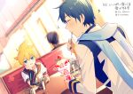 2boys arm_warmers beamed_sixteenth_notes black_collar blonde_hair blue_eyes blue_hair blue_scarf chin_rest coat collar commentary dutch_angle eating eighth_note food glass half-closed_eyes holding holding_spoon ice_cream indoors kagamine_len kaito looking_at_viewer male_focus multiple_boys musical_note necktie restaurant sailor_collar scarf school_uniform seat shirt short_hair short_ponytail short_sleeves sinaooo spiky_hair spoon sundae table vocaloid white_coat white_shirt yellow_neckwear