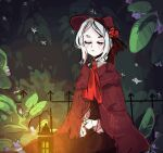 1girl aikkyu animated animated_gif blinking bloodborne blush cloak closed_eyes facing_viewer flower hat hat_flower lantern night outdoors plain_doll plant red_neckwear short_hair sitting solo white_hair