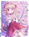 1girl absurdres alternate_costume artist_name bag bangs belt blonde_hair blurry_foreground blush border crepe crystal eating eyebrows_visible_through_hair fang flandre_scarlet food frilled_hairband frilled_skirt frills gradient gradient_background hair_between_eyes hairband highres holding holding_food lanubis lolita_hairband long_sleeves looking_at_viewer medium_hair open_mouth pointy_ears purple_background red_belt red_eyes red_hairband red_skirt shirt shoulder_bag side_ponytail signature skirt solo standing touhou white_border white_legwear white_shirt wings