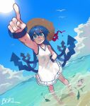 1girl absurdres afloat animal bangs bird blue_eyes blue_hair boridongja breasts clouds commentary day dress hand_on_hip hat highres ikamusume index_finger_raised long_hair medium_breasts outdoors photoshop_(medium) pointing sandals sandals_removed seagull shinryaku!_ikamusume signature sky sleeveless sleeveless_dress smile solo standing straw_hat sun sweat tentacle_hair tentacles wading water white_dress