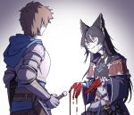 1boy 1girl animal_ears armor ascot bags_under_eyes black_hair blood bloody_hands brown_hair choker commentary crying crying_with_eyes_open ear_piercing earrings erune flower gran_(granblue_fantasy) granblue_fantasy highres holding holding_sword holding_weapon jewelry long_hair mefomefo nier_(granblue_fantasy) piercing purple_flower purple_rose red_eyes rose short_hair sword tears weapon