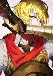 1boy black_eyes black_gloves black_neckwear blonde_hair collared_shirt copyright_request gloves gun hand_up holding holding_gun holding_weapon looking_at_viewer male_focus mika_pikazo necktie red_scarf scarf shirt simple_background solo trigger_discipline weapon white_background white_shirt wing_collar