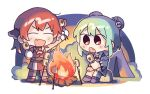 2girls adan_imas campfire camping chibi double_bun fang food green_hair hololive houshou_marine marshmallow multiple_girls red_eyes redhead roasting short_hair twintails uruha_rushia virtual_youtuber