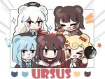 >_o 5girls animal_ears aqua_eyes aqua_hair aqua_neckwear arknights bear_ears blonde_hair blue_coat blue_eyes blue_headwear blue_jacket blue_neckwear blush_stickers bow brown_coat brown_hair brown_jacket brown_shirt buttons candy_hair_ornament chibi closed_eyes coat commentary crown cup food_themed_hair_ornament frying_pan fur-trimmed_jacket fur_trim group_picture gummy_(arknights) hair_ornament happy hat heterochromia holding holding_cup holding_frying_pan holding_jar honey istina_(arknights) jacket jar leto_(arknights) monocle multicolored_hair multiple_girls necktie one_eye_closed open_mouth orange_eyes red_bow red_eyes red_neckwear rosa_(arknights) sailor_collar school_uniform serafuku shirt smile sparkle star_(symbol) star_hair_ornament streaked_hair symbol_commentary ursus_empire_logo white_hair white_sailor_collar x_hair_ornament xijian zima_(arknights) |_|