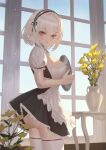 1girl apron ass azur_lane bangs black_dress blue_sky breasts cirilla commentary day dress eyebrows_visible_through_hair flower flower_pot frilled_apron frills from_side hair_between_eyes hairband highres holding holding_tray indoors large_breasts light_blush looking_at_viewer maid puffy_short_sleeves puffy_sleeves red_eyes short_hair short_sleeves sidelocks silver_hair sirius_(azur_lane) sky solo standing sunlight table thigh-highs tray vase white_apron white_legwear window