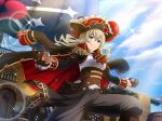 blue_eyes brown_hair cap cape dress long_hair pirate saijou_claudine shoujo_kageki_revue_starlight