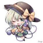 1girl artist_name bangs black_footwear black_headwear bow chibi eyebrows_visible_through_hair full_body green_eyes green_hair green_skirt hat hat_bow hat_ribbon highres holding holding_phone komeiji_koishi long_hair long_sleeves looking_at_viewer one_eye_closed open_mouth phone pudding_(skymint_028) ribbon shirt signature simple_background skirt smile solo third_eye touhou white_background wide_sleeves yellow_bow yellow_ribbon yellow_shirt