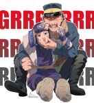 1boy 1girl ainu asirpa bandana black_hair blue_eyes blue_jacket blue_pants cheek_pinching earrings facial_scar full_body gaiters golden_kamuy hand_on_another's_face hat highres hoop_earrings imperial_japanese_army jacket jewelry kepi military military_hat military_uniform pants pinching scar scar_on_cheek scarf short_hair spread_legs sugimoto_saichi uniform yellow_scarf zifletts
