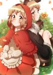 2girls animal_ears big_bad_wolf big_bad_wolf_(cosplay) blonde_hair blush braid brown_eyes capelet closed_mouth cosplay fake_animal_ears flower hair_ornament hairclip highres little_red_riding_hood_(grimm) little_red_riding_hood_(grimm)_(cosplay) looking_at_viewer multiple_girls red_capelet senki_zesshou_symphogear shiny shiny_hair shiny_skin short_hair sitting smile tachibana_hibiki_(symphogear) tail wolf_ears wolf_tail yukitsuba_hina