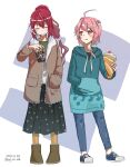 2girls :q ahoge alternate_costume bangs black_skirt blue_footwear blue_jacket blue_pants boots brown_footwear brown_jacket closed_eyes crepe cup dated disposable_cup eyebrows_visible_through_hair food fur-trimmed_jacket fur_boots fur_trim hair_ornament hand_in_pocket highres holding holding_cup holding_food hood hood_down hoodie i-168_(kantai_collection) i-58_(kantai_collection) infini jacket kantai_collection long_hair long_sleeves multiple_girls pants pink_eyes pink_hair polka_dot polka_dot_skirt ponytail redhead shirt shoes short_hair simple_background skirt smile sneakers standing tongue tongue_out twitter_username two-tone_background ugg_boots