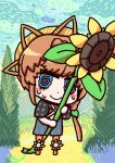 1girl @_@ blue_eyes braid chibi crown_braid fate/grand_order fate_(series) flower headwear l.n orange_hair parody riyo_(lyomsnpmp)_(style) short_hair smile solo striped striped_headwear style_parody sunflower van_gogh_(fate) vincent_van_gogh_(style) wavy_mouth yellow_flower yellow_headwear