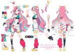 1girl blue_eyes blue_hair bow bowtie breasts character_sheet from_behind from_side full_body gloves hair_ornament half_gloves leg_garter long_hair loose_bowtie mika_pikazo multicolored multicolored_eyes multicolored_hair official_art pink_hair pinky_pop_hepburn platform_footwear revision ribbon ribs scrunchie small_breasts the_moon_studio two_side_up virtual_youtuber x x_hair_ornament yellow_eyes