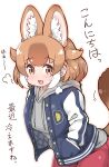 1girl alternate_costume animal_ears blue_jacket blush breath brown_eyes casual commentary_request cowboy_shot dhole_(kemono_friends) dog_ears dog_girl dog_tail drawstring extra_ears eyebrows_visible_through_hair grey_hoodie hands_in_pockets highres hood hood_down hoodie jacket kemono_friends light_brown_hair long_sleeves multicolored_hair open_clothes open_jacket pink_legwear solo striped_sleeves tail tanaka_kusao translation_request white_hair