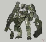 1boy dated grey_background gun helmet highres holding holding_gun holding_weapon kneeling mecha military moi_moi7 one_knee open_hand original science_fiction shield size_difference visor weapon