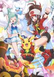 2girls absurdres altaria antenna_hair arm_up baseball_cap blue_eyes blush blush_stickers boots brendan_(pokemon) brendan_(pokemon)_(cosplay) brown_hair clenched_hands closed_eyes commentary_request cosplay cosplay_pikachu emboar eyelashes floating_hair gen_1_pokemon gen_3_pokemon gen_5_pokemon green_hair happy hat haxorus highres hilda_(pokemon) jacket light_stick lisia_(pokemon) long_hair multicolored_hair multiple_girls navel open_mouth pikachu pikachu_rock_star pokemoa pokemon pokemon_(creature) pokemon_(game) pokemon_bw pokemon_oras ponytail red_footwear red_jacket shoes short_shorts shorts sidelocks single_thighhigh smile streaked_hair thigh-highs tongue