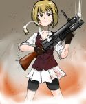 1girl absurdres anger_vein bangs bartender black_gloves blonde_hair blood blood_on_face blood_splatter bloody_clothes blunt_bangs bob_cut brown_eyes brown_vest closed_mouth commentary cutlass_(girls_und_panzer) dress_shirt eyebrows_visible_through_hair frown girls_und_panzer gloves gun highres holding holding_weapon long_sleeves looking_at_viewer maid_headdress miniskirt moesenyukikaze motion_blur pleated_skirt school_uniform shirt short_hair shorts shorts_under_skirt shotgun shotgun_shells skirt sleeves_rolled_up smoke solo standing sweatdrop trigger_discipline v-shaped_eyebrows vest weapon white_shirt white_skirt wing_collar