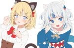 2girls :d animal_ears bell black_hairband blonde_hair blue_eyes blue_hair blue_hoodie blue_nails bow breasts brown_skirt cat_ears cat_tail claw_pose collared_shirt commentary dress_shirt english_commentary fake_animal_ears gawr_gura grey_hair grey_hairband hair_ornament hairband hand_up high-waist_skirt highres hitsukuya hololive hololive_english hood hood_down hoodie jingle_bell long_sleeves looking_at_viewer medium_breasts multicolored_hair multiple_girls nail_polish open_mouth red_bow sharp_teeth shirt simple_background skirt smile streaked_hair tail tail_raised teeth two_side_up upper_body virtual_youtuber watson_amelia white_background white_shirt wide_sleeves work_in_progress