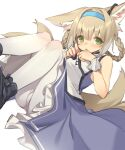 1girl animal_ear_fluff animal_ears arknights bangs bare_shoulders black_footwear blue_hairband blush boots braid breasts brown_hair closed_mouth commentary_request eyebrows_visible_through_hair feet_out_of_frame frilled_skirt frills green_eyes hair_between_eyes hair_rings hairband hands_up kildir knees_up looking_at_viewer multiple_tails panties panties_under_pantyhose pantyhose purple_skirt shirt skirt sleeveless sleeveless_shirt small_breasts solo suzuran_(arknights) tail underwear white_legwear white_shirt wrist_cuffs