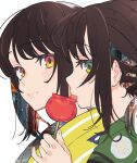 2girls absurdres brown_eyes brown_hair candy_apple closed_mouth food from_side green_eyes green_kimono highres holding japanese_clothes kimono looking_at_viewer mika_pikazo multiple_girls original pinky_out portrait profile siblings simple_background smile tongue tongue_out twins unmoving_pattern white_background yellow_eyes yellow_kimono