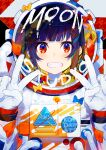 1girl :d astronaut blue_eyes blush character_request double_v gloves hands_up highres looking_at_viewer mika_pikazo multicolored multicolored_eyes open_mouth red_eyes smile solo space_helmet the_moon_studio upper_body v white_gloves