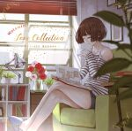 1girl armchair bare_legs bare_shoulders blue_shorts book brown_hair chair closed_eyes closed_mouth crossed_legs cup desk_lamp flower highres holding holding_cup lamp long_sleeves open_book original pink_flower pink_rose red_flower red_rose rose shirt short_hair short_shorts shorts sitting slippers solo striped striped_shirt yasukura_(shibu11)