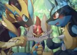 :t blurry blurry_background blush cinderace commentary_request eye_contact fang forest fork furry gen_4_pokemon gen_7_pokemon gen_8_pokemon highres holding holding_fork holding_spoon looking_at_another lucario mythical_pokemon nata_de_coco_(pankptomato) nature one_eye_closed open_mouth outdoors pokemon pokemon_(creature) red_eyes smile spikes spoon tongue tree yellow_fur zeraora