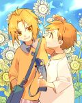 2boys alphonse_elric aqua_background arm_at_side av_(abusive) bag blonde_hair blue_background blush brothers buttons child clenched_teeth closed_mouth collared_shirt dot_nose edward_elric eyebrows_visible_through_hair eyelashes eyes_visible_through_hair facing_away field flower flower_field fullmetal_alchemist gradient gradient_background grey_shirt grin hand_up happy holding holding_bag jitome leaf leaning leaning_to_the_side long_sleeves looking_at_another male_focus multiple_boys nose_blush orange_shirt partially_colored profile shiny shiny_hair shirt siblings side-by-side simple_background smile star_(symbol) starry_background sunflower tareme teeth upper_body v-shaped_eyebrows wide_sleeves yellow_eyes yellow_theme younger
