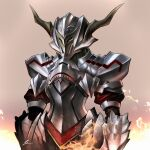 1girl armor cawang commentary fate/apocrypha fate/grand_order fate_(series) fire full_armor helm helmet highres horned_helmet long_hair looking_at_viewer mordred_(fate) mordred_(fate)_(all) plate_armor simple_background smile solo white_background