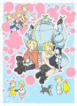 1girl 2boys 5kawa8gi :d ^_^ age_comparison alphonse_elric animal animal_on_head ankle_boots apron aqua_background arm_support armor automail bent_over bird bird_on_hand bird_on_head black_footwear black_gloves black_skirt blonde_hair blue_shorts blush blush_stickers boots border chibi child closed_eyes commentary_request cookie cross-laced_footwear crossed_ankles cup den_(fma) dog dot_nose dress eating edward_elric facing_away floral_print food food_in_mouth full_body fullmetal_alchemist gloves happy indian_style jacket jar laughing looking_at_animal looking_at_another looking_back looking_down multiple_boys no_nose on_head open_mouth outline outstretched_arm oven_mitts pants polka_dot polka_dot_background ponytail profile red_dress red_jacket sandals shirt short_hair shorts sidelocks simple_background sitting skirt smile socks striped striped_shirt teacup teenage tray vertical-striped_shirt vertical_stripes walking white_border white_footwear white_gloves white_legwear white_outline white_pants winry_rockbell yellow_apron younger |_|
