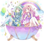 2girls absurdres animal_ears animal_hat arrow_(projectile) arrow_through_heart balloon bandaid blue_hair blue_hoodie blue_legwear braid candy candy_hair_ornament candy_wrapper chewing_gum clouds commentary double_scoop fake_animal_ears food food_themed_hair_ornament frilled_pillow frills fruit glasses green_eyes green_hair green_headwear hair_ornament hat heart heart-shaped_eyewear heart_hair_ornament highres holding holding_food hood hood_down hoodie ice_cream ice_cream_cone jacket knees_up lollipop long_hair multicolored_hair multiple_girls original pillow pink_hair pink_skirt pleated_skirt purple_footwear purple_jacket rainbow shirt shoes skirt star_(symbol) strawberry streaked_hair striped striped_legwear stuffed_animal stuffed_giraffe stuffed_toy stuffed_unicorn swirl_lollipop symbol_commentary teruterubouzu thigh-highs tsukiyo_(skymint) twin_braids twintails very_long_hair violet_eyes white_background white_footwear white_legwear white_shirt