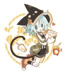 1girl ahoge aida_(aidia) animal_hat aqua_eyes aqua_hair bad_id bad_tumblr_id bandaid bandaid_on_face black_choker black_headwear black_hoodie black_legwear blush_stickers bracelet cat_hat cat_tail choker cup disposable_cup english_text food food_on_face french_fries full_body green_jacket hamburger hat heart high_tops highres holding holding_food hood hoodie jacket jewelry letterman_jacket long_sleeves looking_at_viewer mint-chan open_mouth original red_footwear short_hair short_twintails socks solo tail twintails white_background