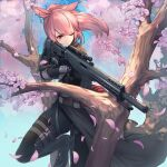 1girl animal_ears bangs belt black_bodysuit black_cloak black_gloves black_legwear blue_background bodysuit boots cherry_blossoms cloak closed_mouth earrings eyebrows_visible_through_hair eyes_visible_through_hair facial_mark final_fantasy final_fantasy_xiv gloves gun highres holding holding_gun holding_weapon itaco jewelry long_hair miqo'te one_eye_closed pink_hair ponytail rabbit_ears red_eyes rifle scope sidelocks slit_pupils solo squatting standing tree weapon weapon_request
