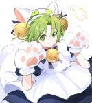 1girl animal_hat apron bell blue_ribbon cat_hat cat_tail closed_mouth dejiko di_gi_charat eyebrows_visible_through_hair gema gloves green_eyes green_hair hands_up hat highres jingle_bell looking_at_viewer maid_apron paw_gloves paws puffy_short_sleeves puffy_sleeves raised_eyebrows ribbon short_hair short_sleeves smile solo tail tg_(tg_c_apple) white_background