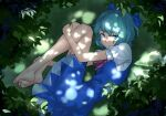 1girl :/ aqua_hair bare_legs barefoot blue_bow blue_dress blue_eyes blue_hair blue_ribbon bow cirno closed_mouth dappled_sunlight dress eyebrows_visible_through_hair fetal_position from_above grass hair_bow hand_on_own_knee highres ice ice_wings leaf looking_at_viewer losercat lying on_ground on_side outdoors pinafore_dress puffy_short_sleeves puffy_sleeves red_bow red_neckwear ribbon short_hair short_sleeves sunlight touhou wings